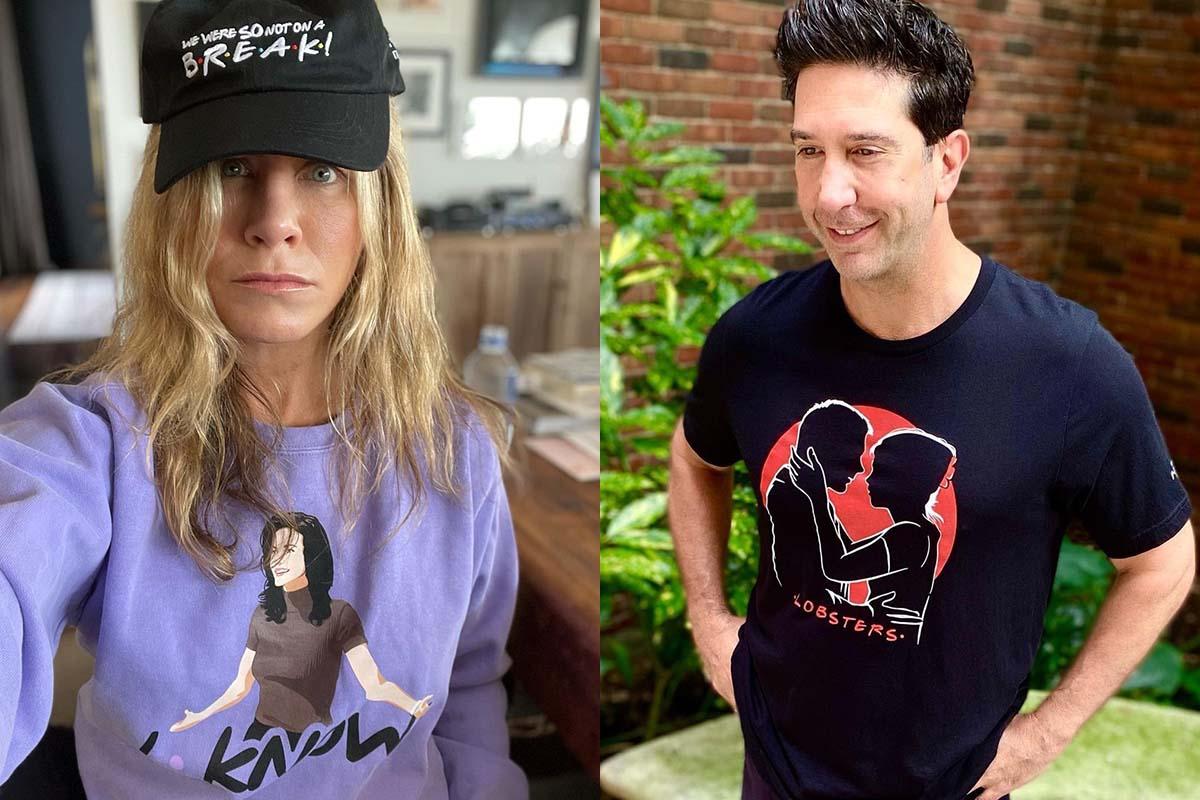 Retrato Jennifer Aniston e David Schwimmer