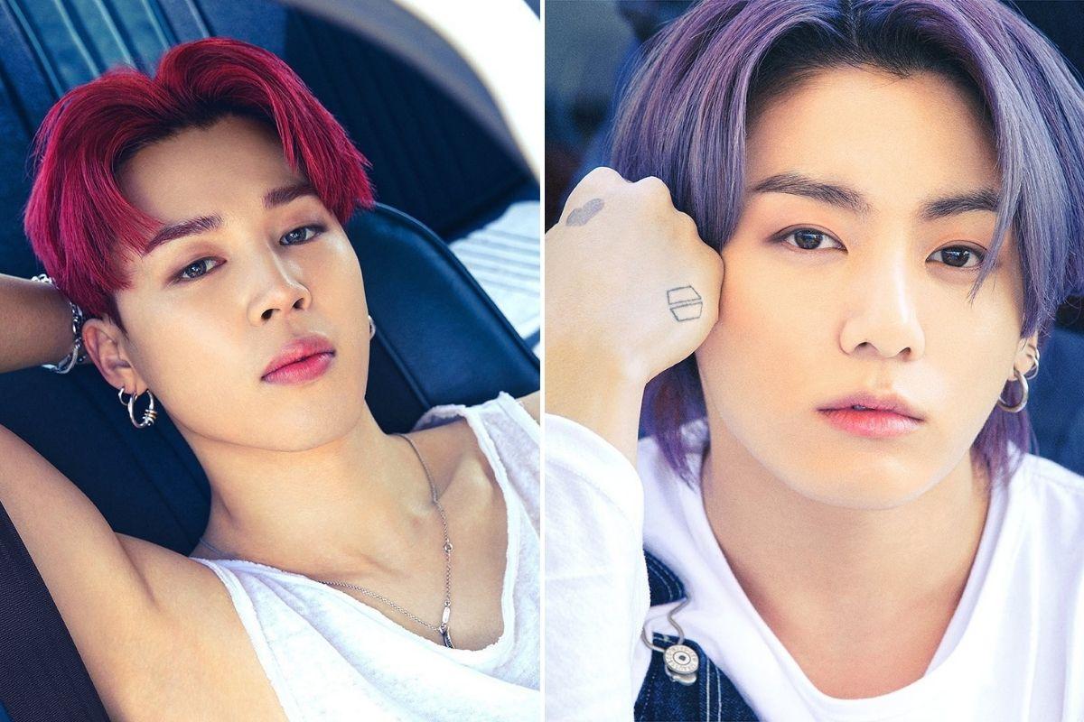 Fotomontagem com fotografias de Jimin e Jungkoon com cabelos coloridos