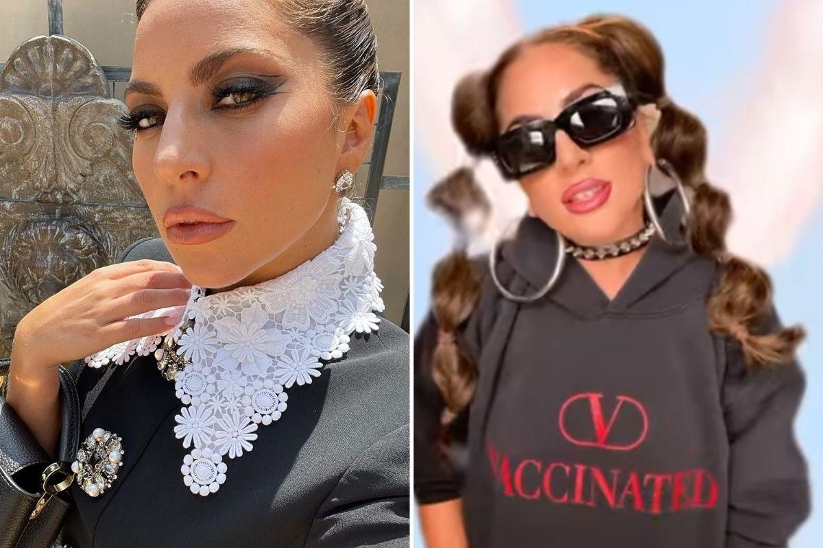 Montagem com selfie de Lady Gaga e trecho dela em vídeo para a marca Valentino Beauty