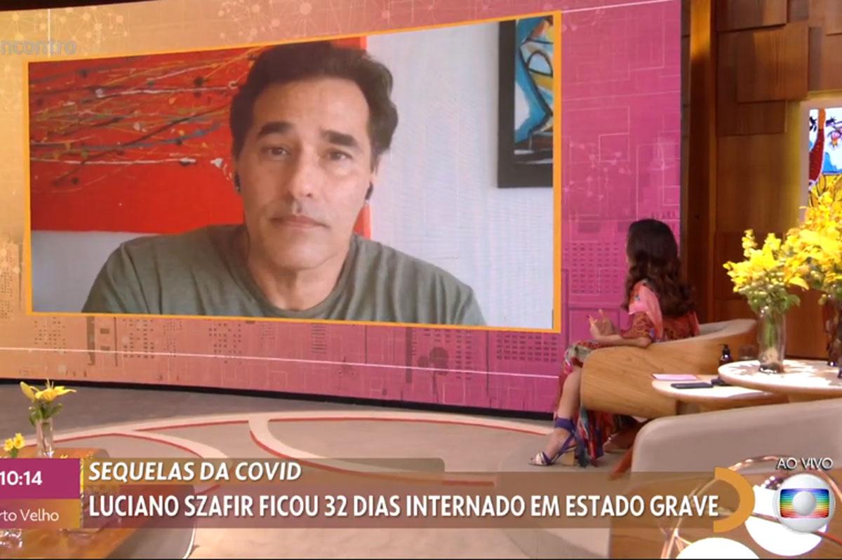 Luciano Szafir no telão do programa Encontro, apresentado por Fátima Bernardes