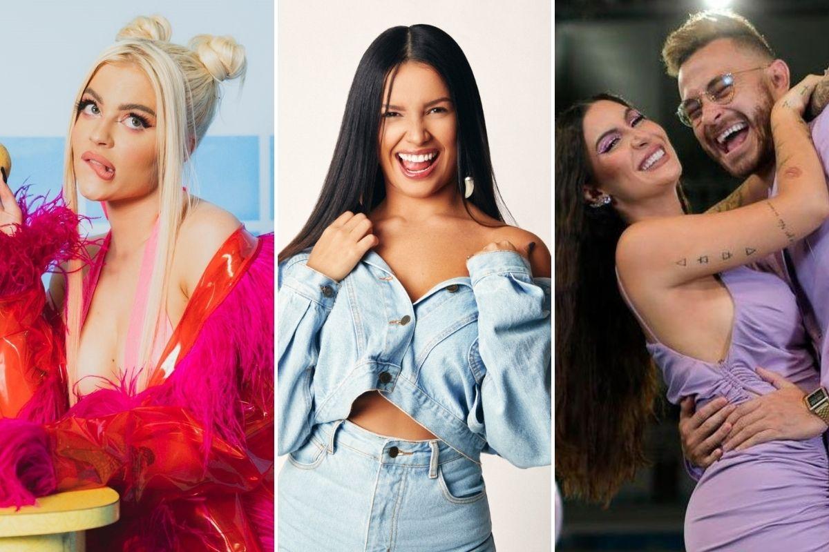 Montagem com fotos de Luísa Sonza, Juliette e Bianca Andrade com Fred