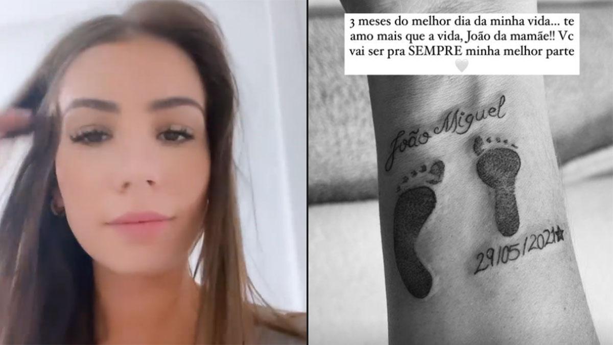 Maria Lina sem maquiagem, homenageia data de nascimento do filho