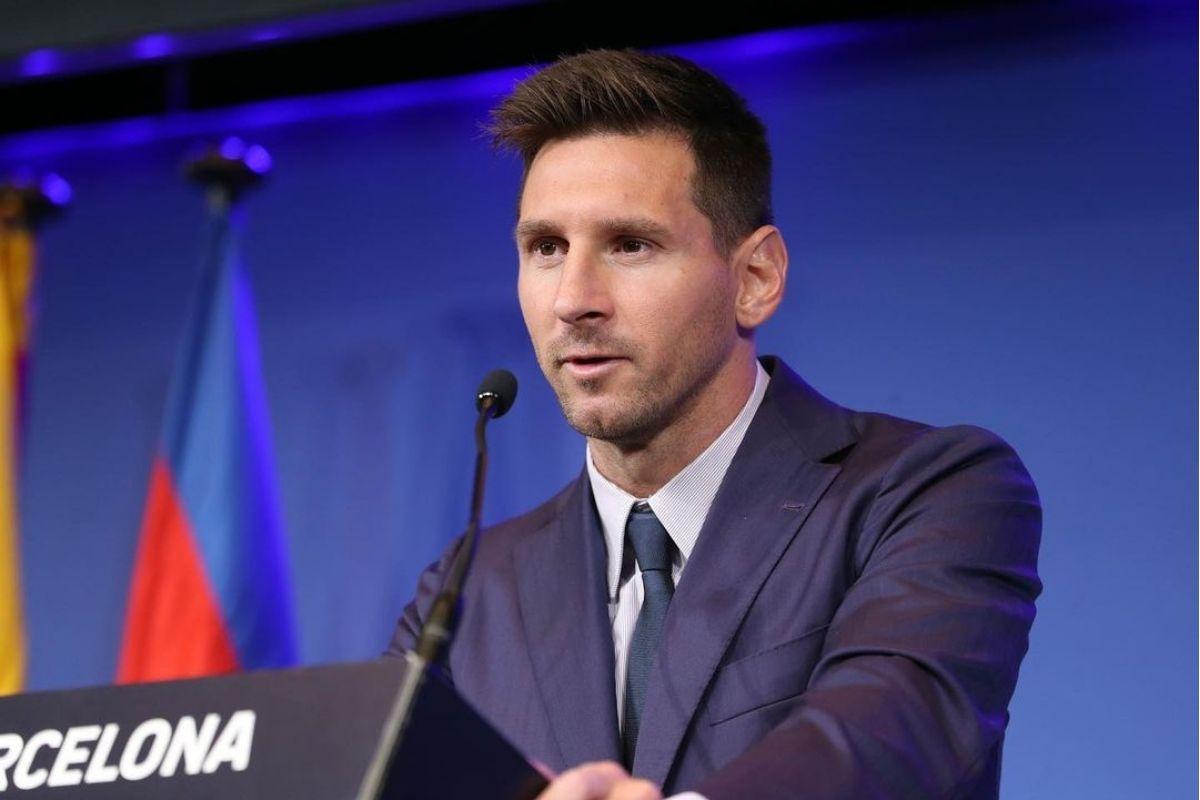 Lionel Messi em coletiva de despedida do Barcelona