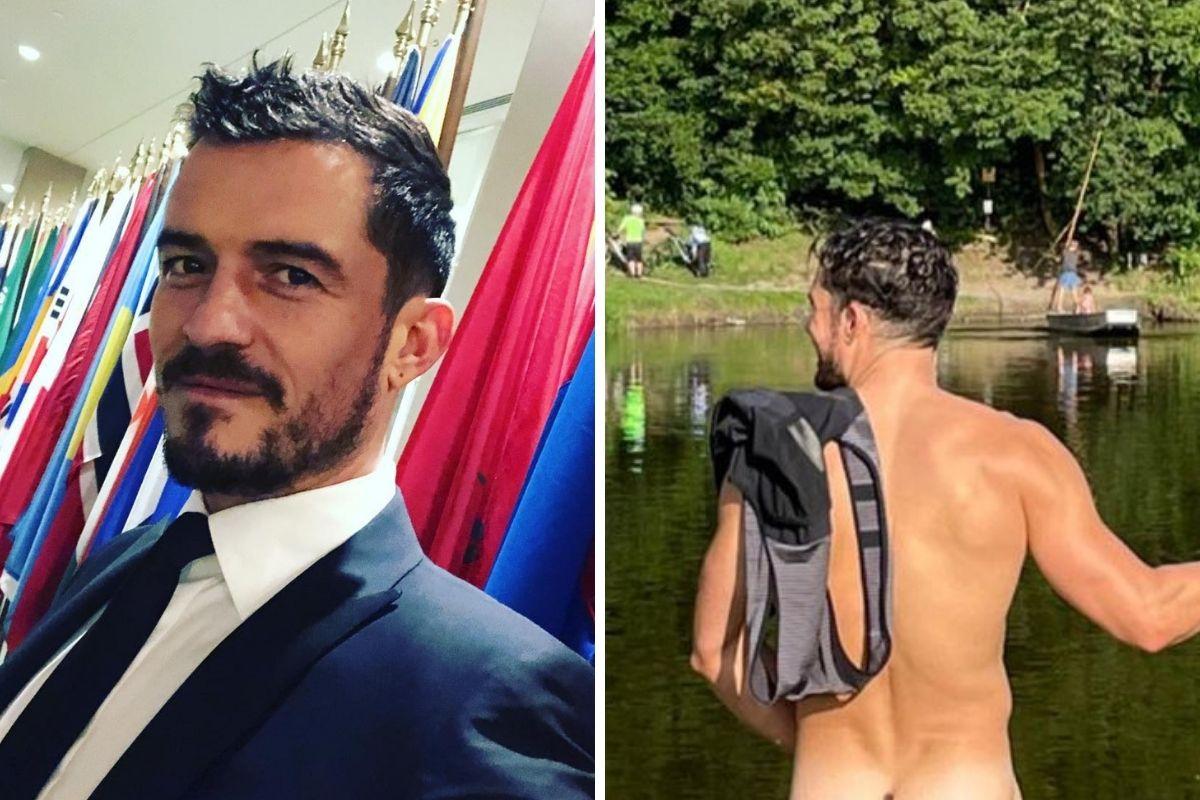 Orlando Bloom de terno e pelado em fotomontagem