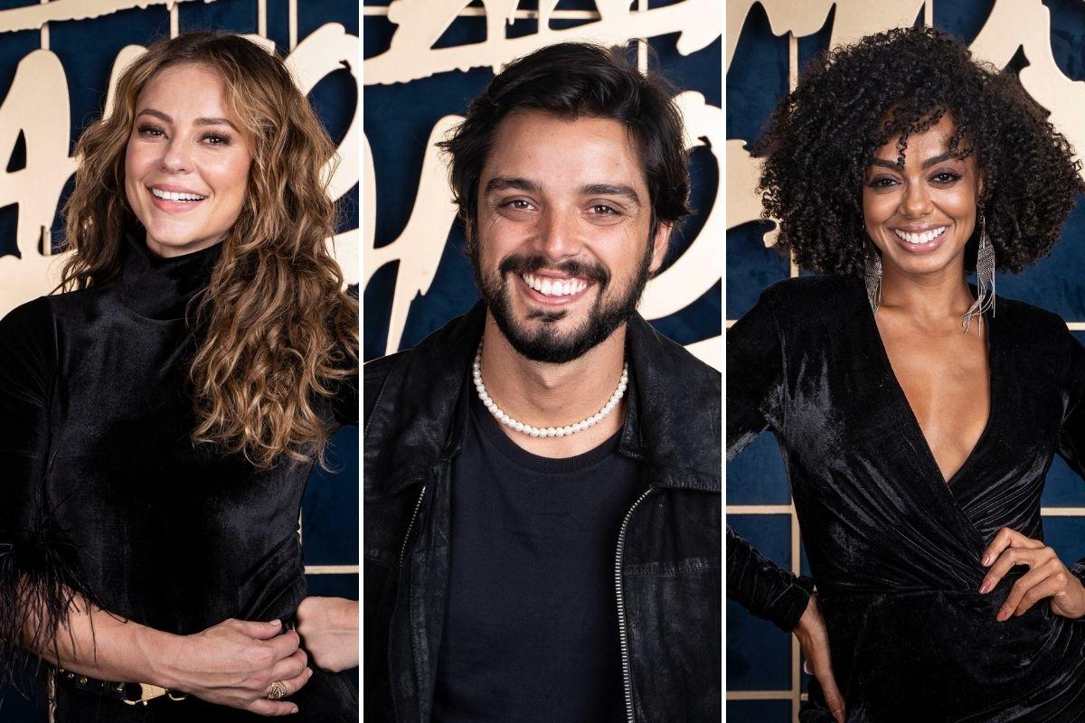 Montagem com fotos de Paolla Oliveira, Rodrigo Simas e Dandara Mariana no Super Dança dos Famosos