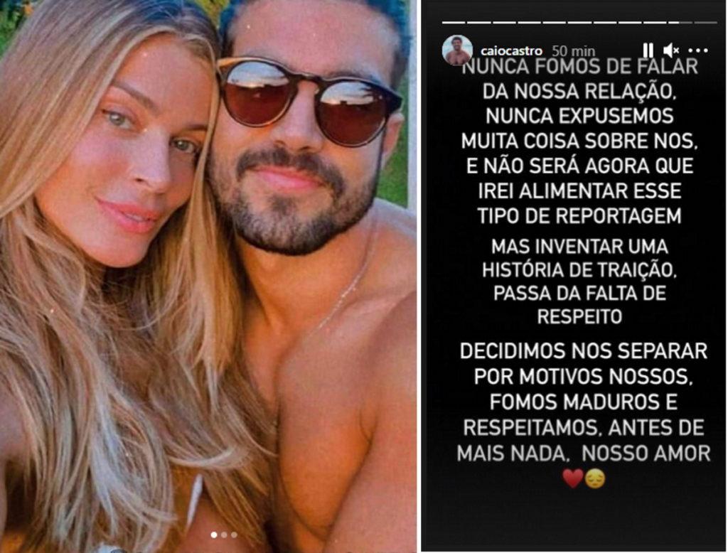 Post Caio Castro sobre fim do romance com Grazi Massafera