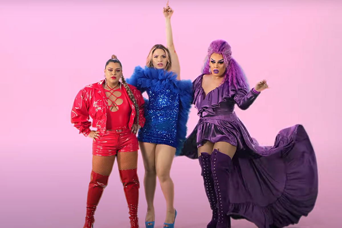Preta Gil, Glamour Garcia e Gloria Groove em cena do clipe de Só o Amor