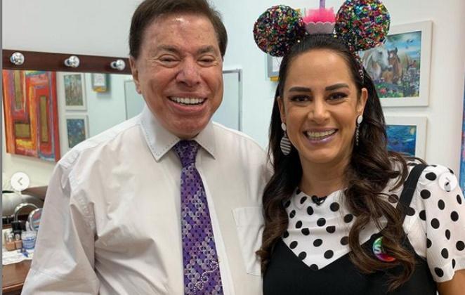 Silvio Santos com a filha, Silvia Abravanel