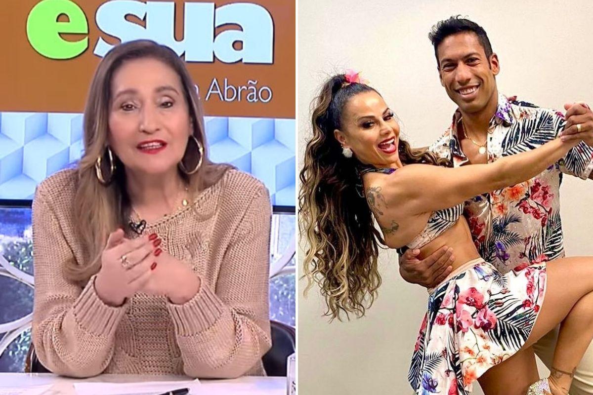 Montagem com fotos de Sonia Abrão e Viviane Araújo com o professor do Dança dos Famosos