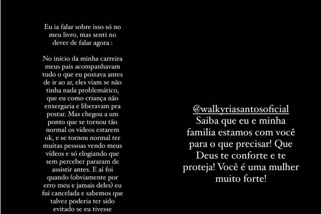 Viih Tube mandou mensagem de apoio para Walkyria Santos