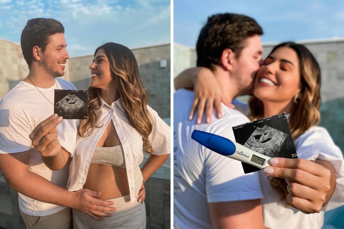 Vivian Amorim e Léo Hirschmann mostrando teste de gravidez