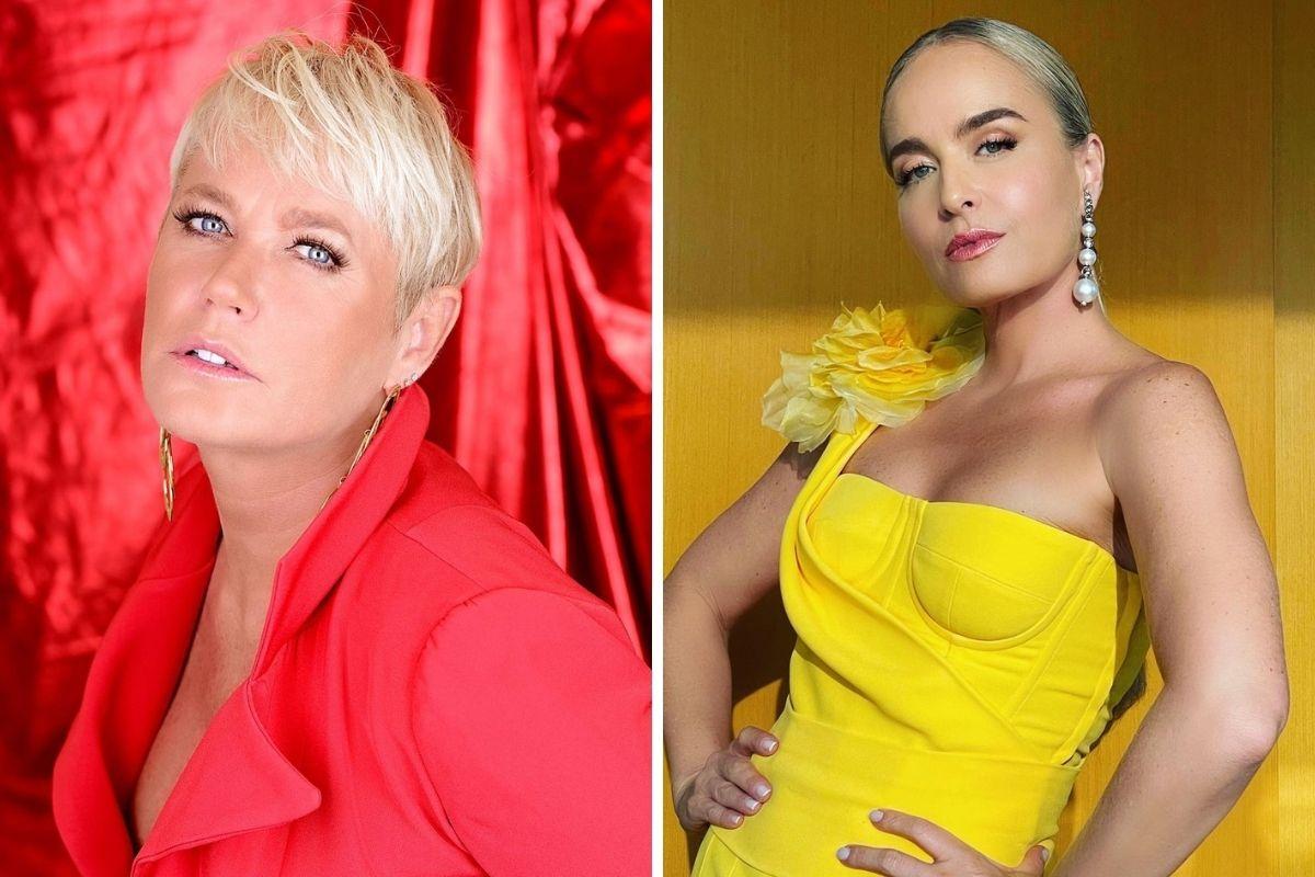 Xuxa Meneghel de roupa vermelha e Angélica de roupa amarela