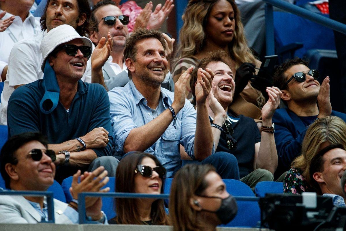Brad Pitt e Bradley Cooper juntos na final do U S Open Tennis