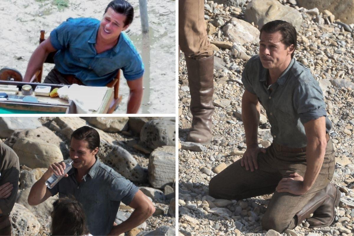 Brad Pitt filma cenas para o novo longa 'Babylon', em San Pedro