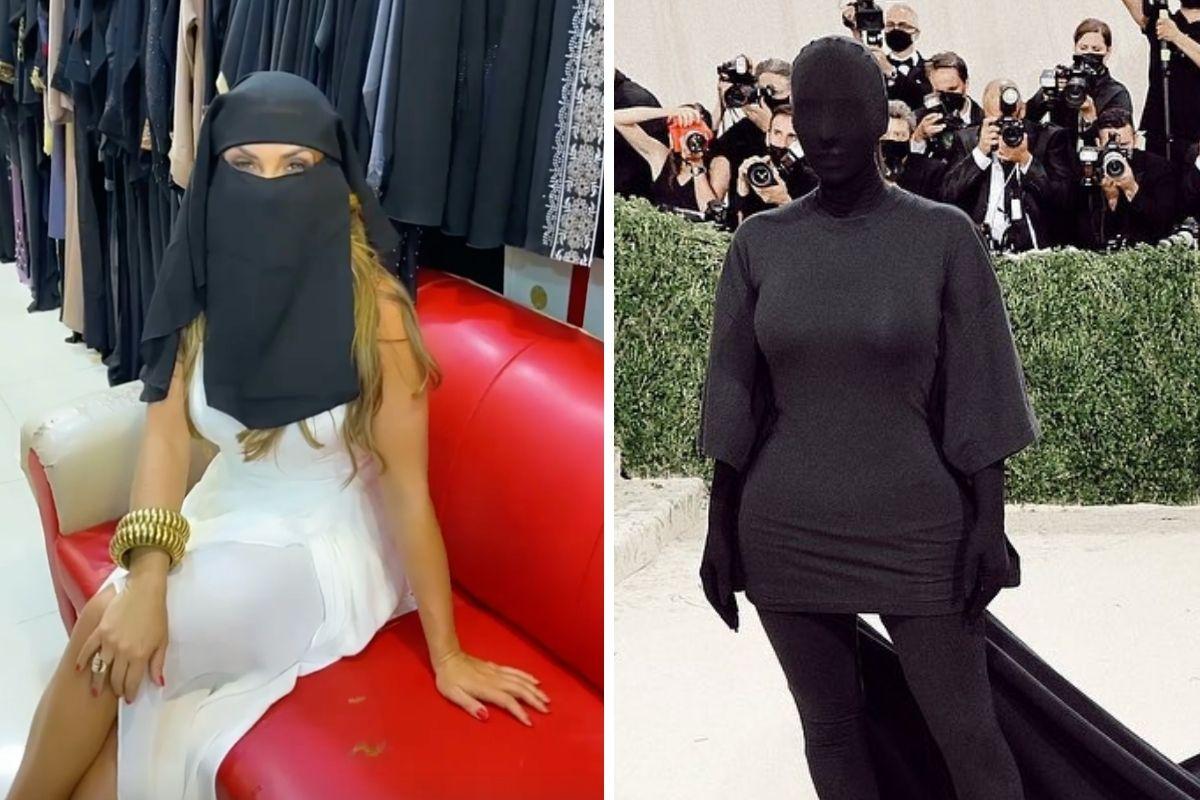 Como Kim Kardashian. Nicole Bahls usa traje típico em Dubai