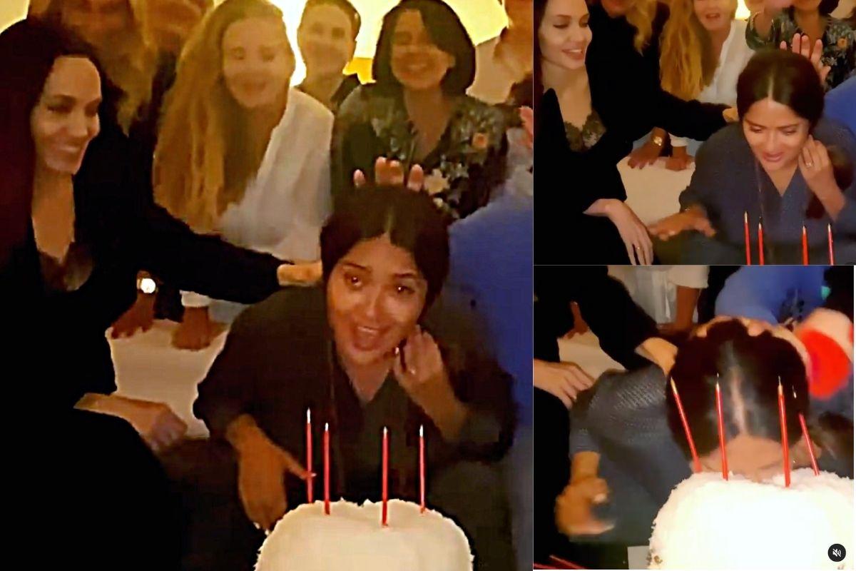 Angelina Jolie em vídeo do aniversário de Salma Hayek