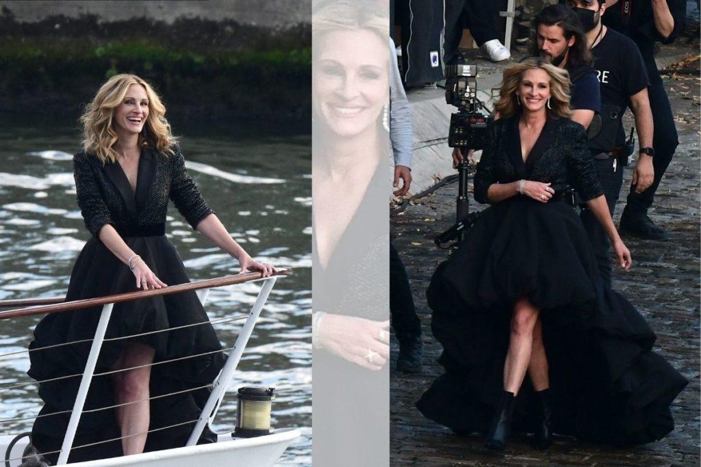 Julia Roberts navega pelo Rio Sena, em Paris, França, para rodar um comercial da Lancôme.