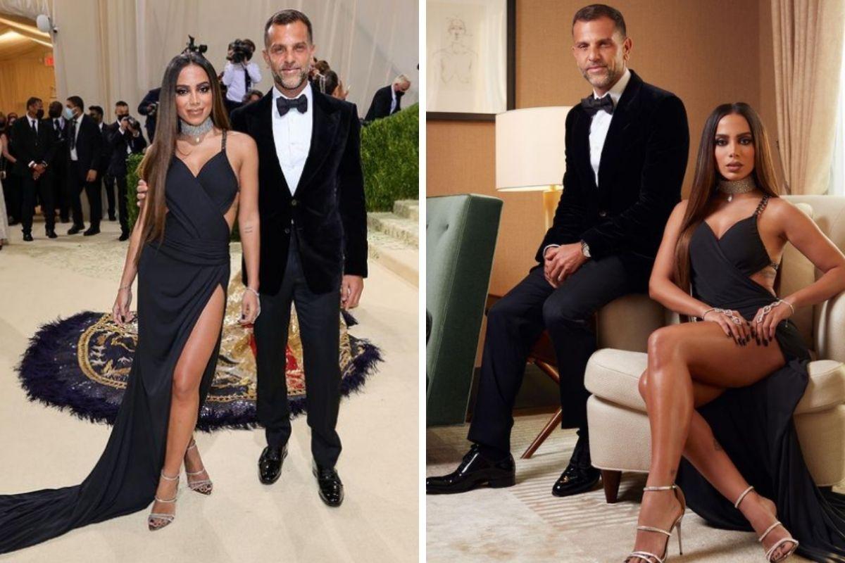 Anitta e Alexandre Birman em trajes de gala