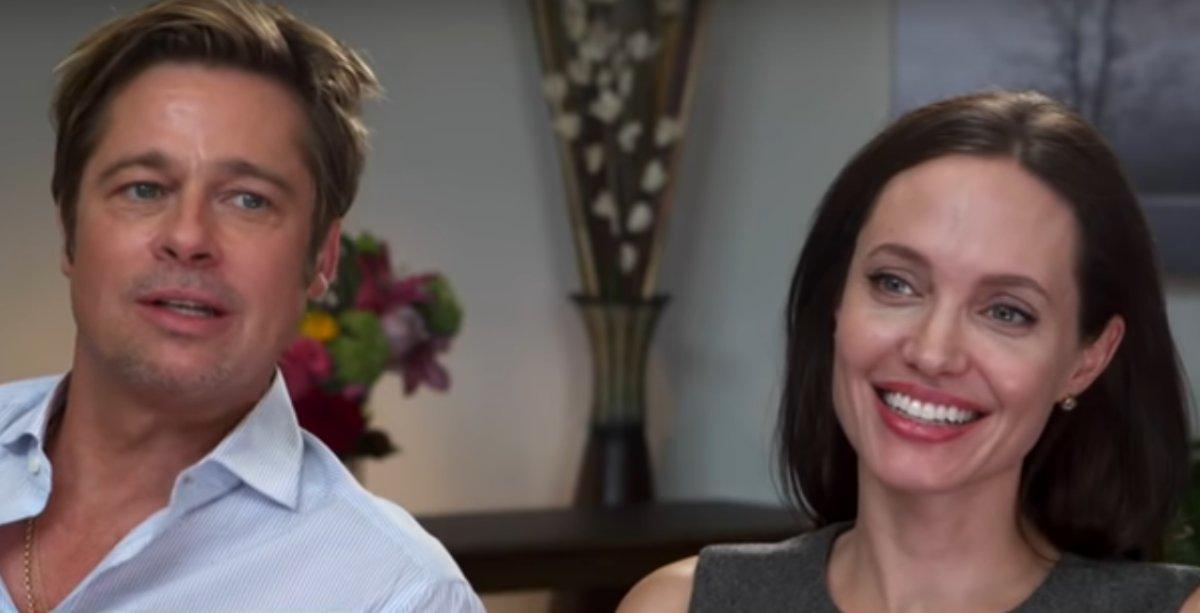 Brad Pitt e Angelina Jolie em entrevista na TV em 2015