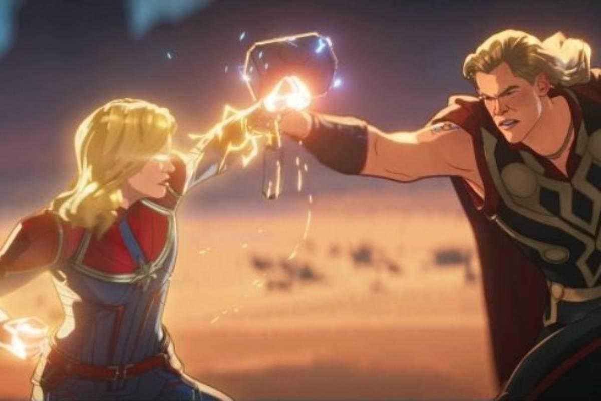 capitã marvel e thor lutando em cena do sétimo episódio de what if...?