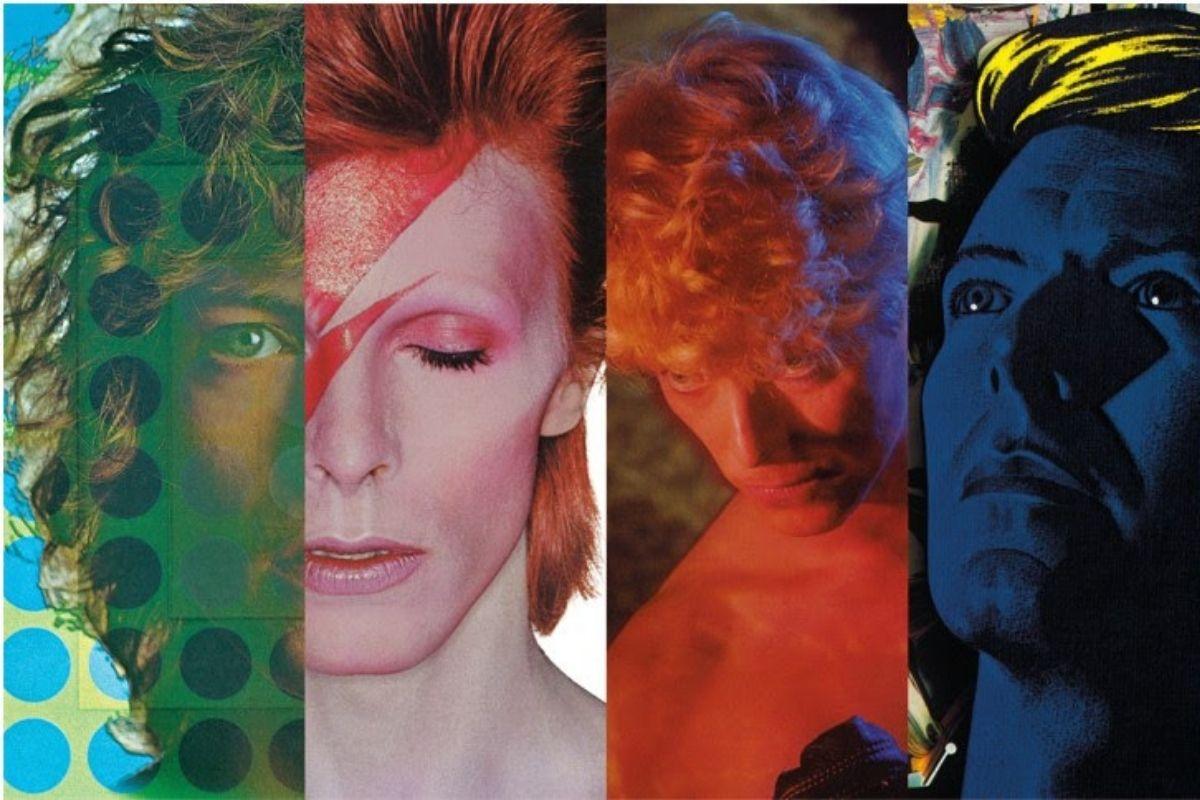 Colagem com fotos de David Bowie