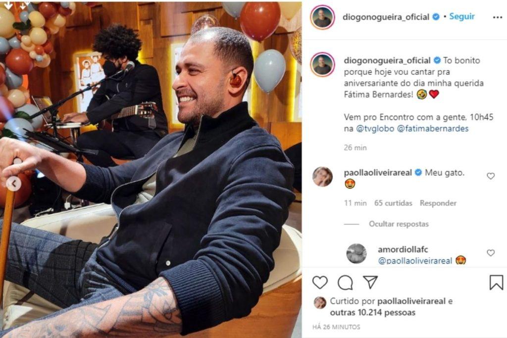 Post de Diogo Nogueira sobre sua participaçao no programa Encontro e elogio de Paolla Oliveira nos comentários