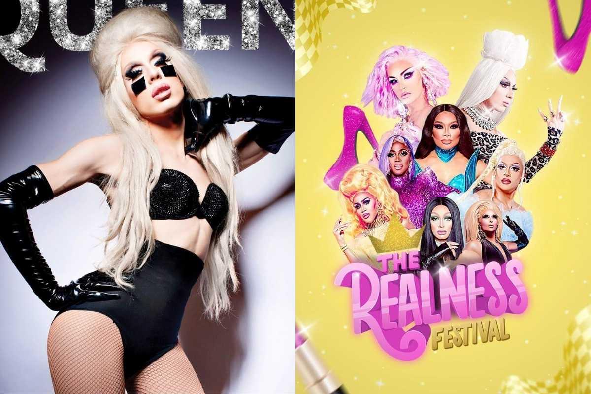 fotomontagem de alska thunderfuck posando sexy e estilosa de preto e pôster do evento the realness festival com drags