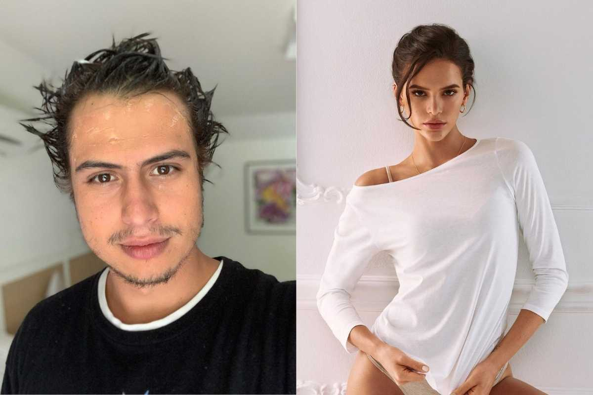 fotomontagem de francisco vitti com cabelo molhado e bruna marquezine de roupa branca