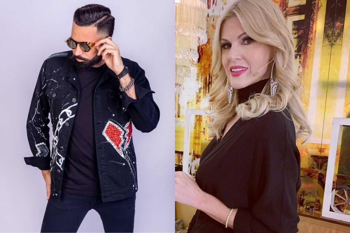 fotomontagem latino estiloso d eroupa escura e óculos escuros e val marchiori estilosa em evento de luxo