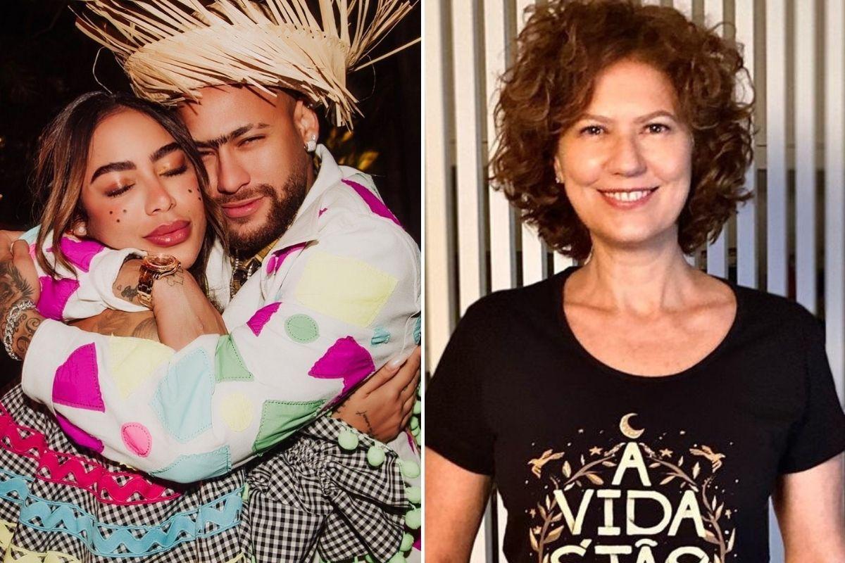 Fotomontagem com cliques de Rafaella Santos abraçada com Neymar Jr e foto de Patricia Pillar