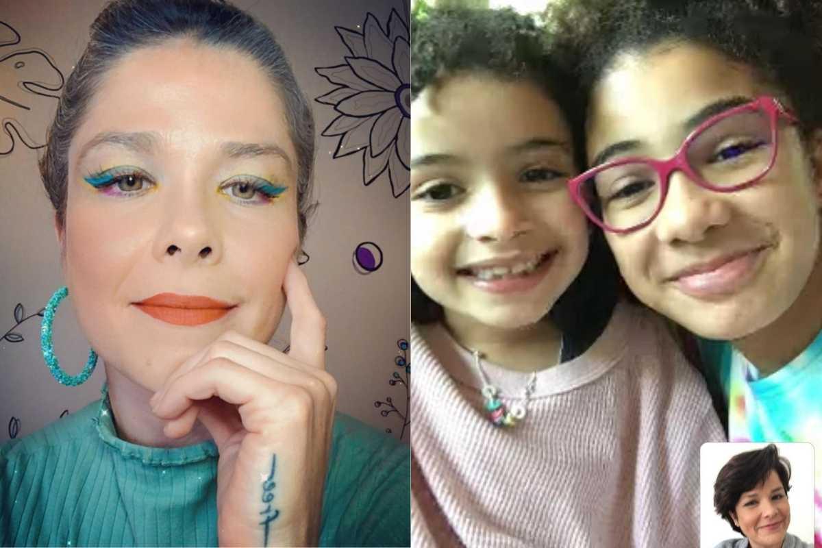 fotomontagem de samara felippo maquiada e filhas em uma chamada de vídeo