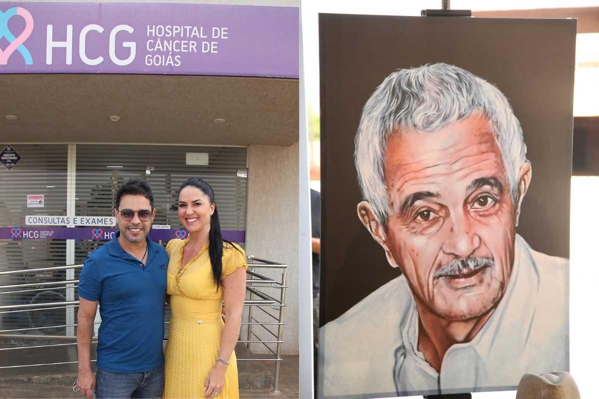 fotomontagem de zeze di camargo e graciele lacerda em frente a hospital e quadro de seu francisco camargo