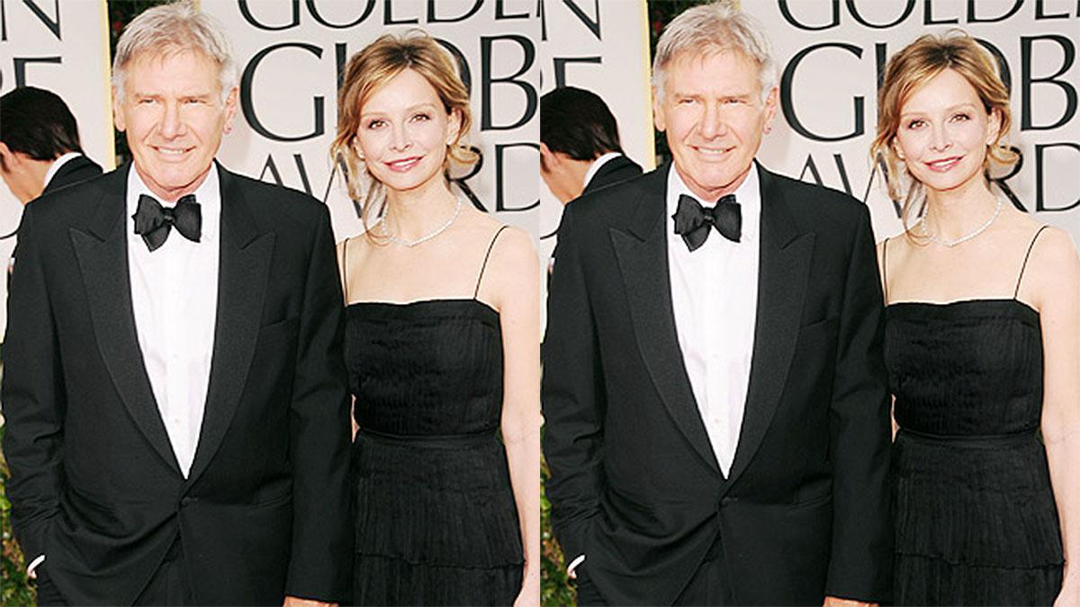 Harrison Ford e Calista Flockhart, com trajes de gala em cerimônia do Oscar