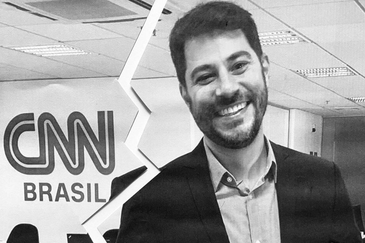 foto em preto e branco com uma rachadura separando o logo da cnn brasil e evaristo costa sorridente