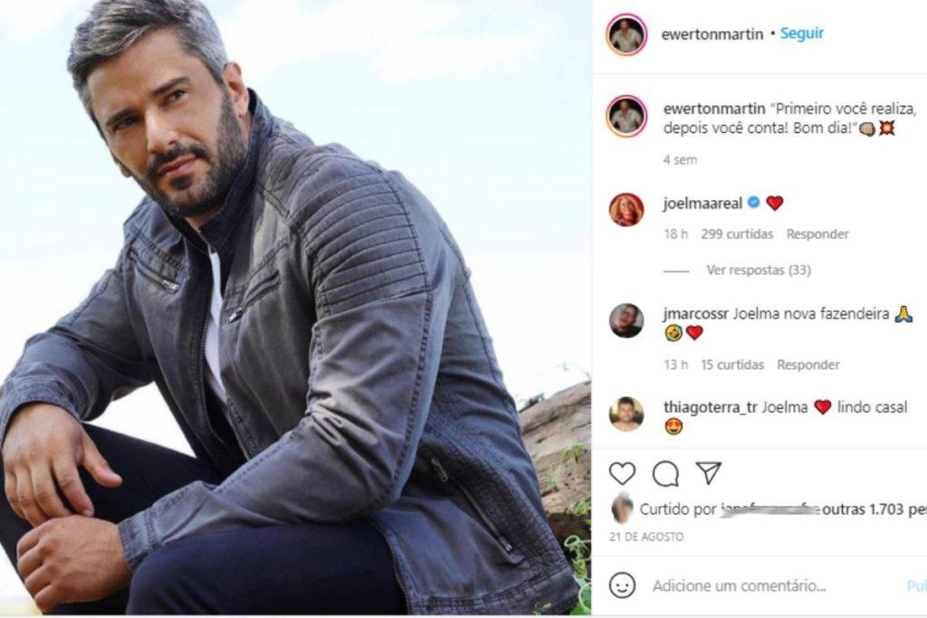 Joelma comentando emoji de coração em foto de Ewerton Martin