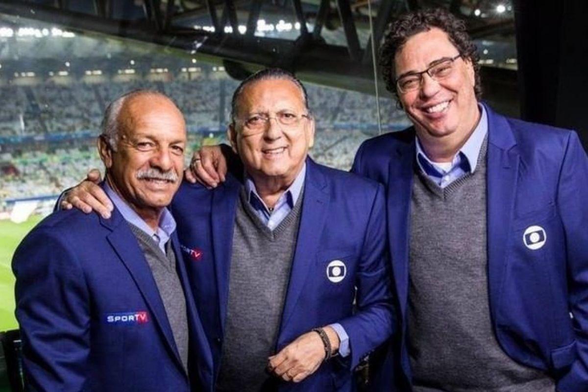 Junior, Galvão Bueno e Casagrande durante transmissão
