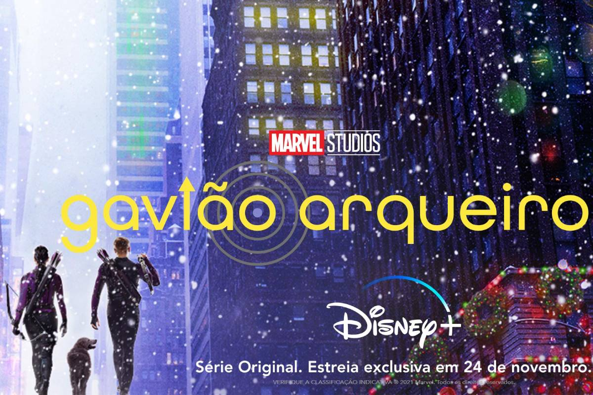"""Logo da série """"Gavião Arqueiro"""" com silheutas de kate bishop e clint barton"""