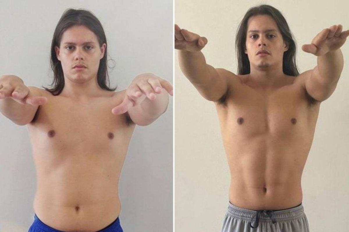 Lucas Cardi Rangel mostrando as mudanças no corpo