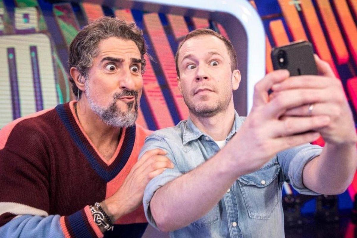 Marcos Mion e Tiago Leifert no Caldeirão