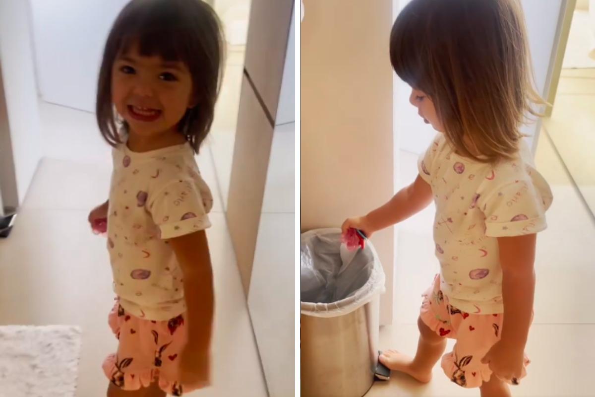 Montagem Zoe jogando chupeta fora