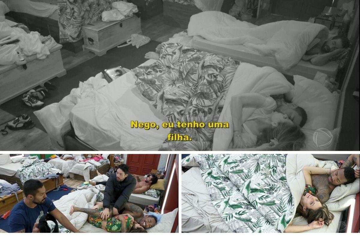 Cenas de Nego do Borel e Dayane Mello dormindo juntos, debaixo do edredom