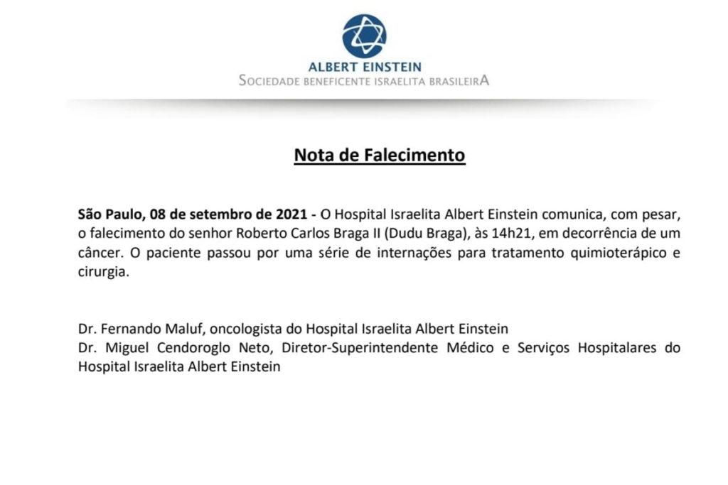 Nota de Falecimento de Dudu Braga
