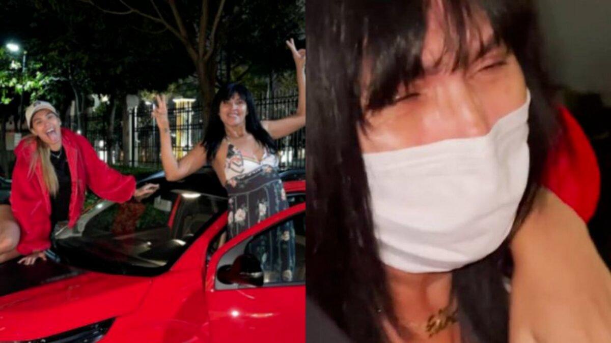 Pocah entregando o carro 0km vermelho para a mãe, que chora de emoção