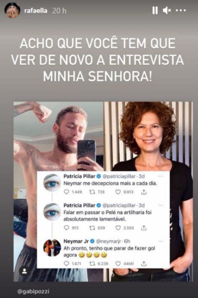 Print do Stories de Rafaella Santos cutucando Patrícia Pillar