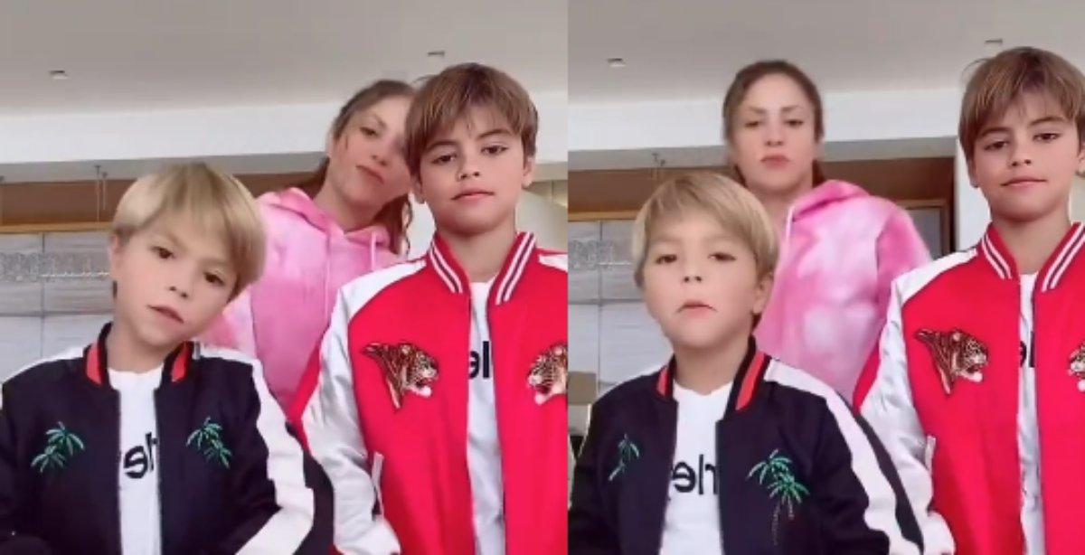 Shakira faz dancinha com os filhos no TikTok