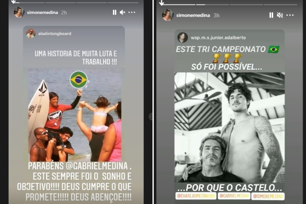 Simone Medina em Stories comemora o tricampeonato mundial de Gabriel Medina