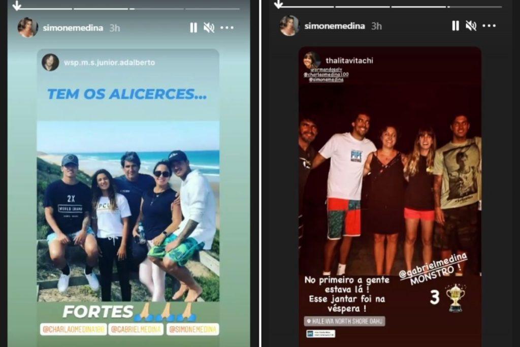 Print de Stories de Simone Medina parabenizando Gabriel Medina pelo tricampeonato mundial de surfe