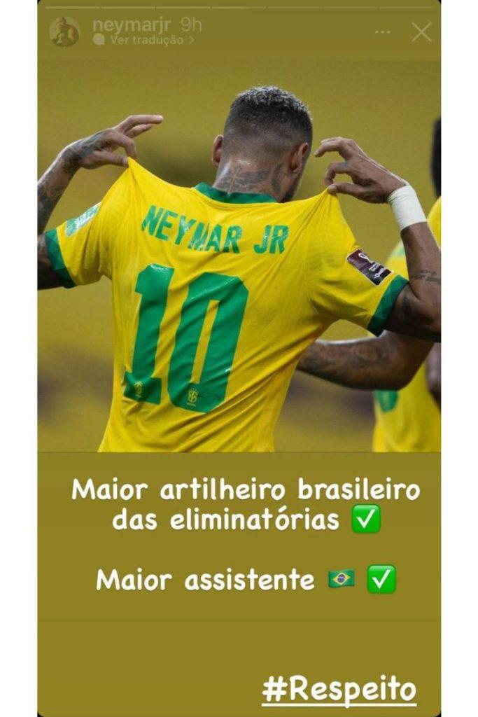 stories de Neymar celebrando suas conquistas em jogo da seleção brasileira