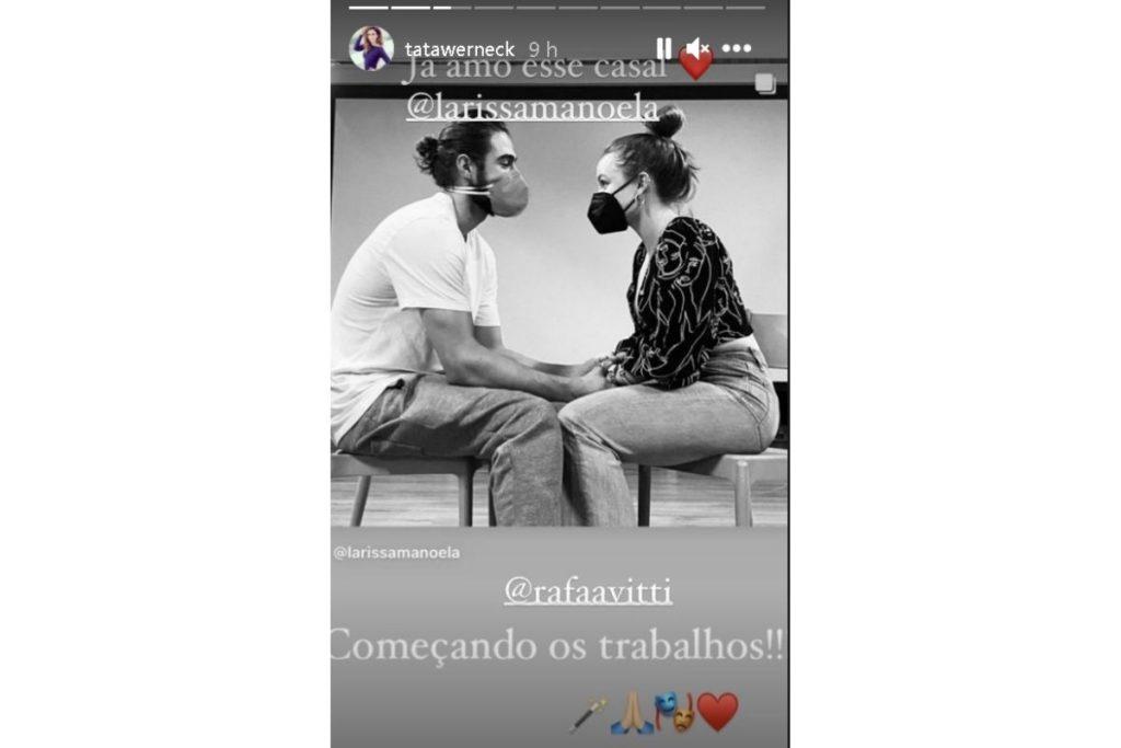Print do Stories de Tatá Werneck, mostrando o ensaio entre Rafael Vitti e Larissa Manoela
