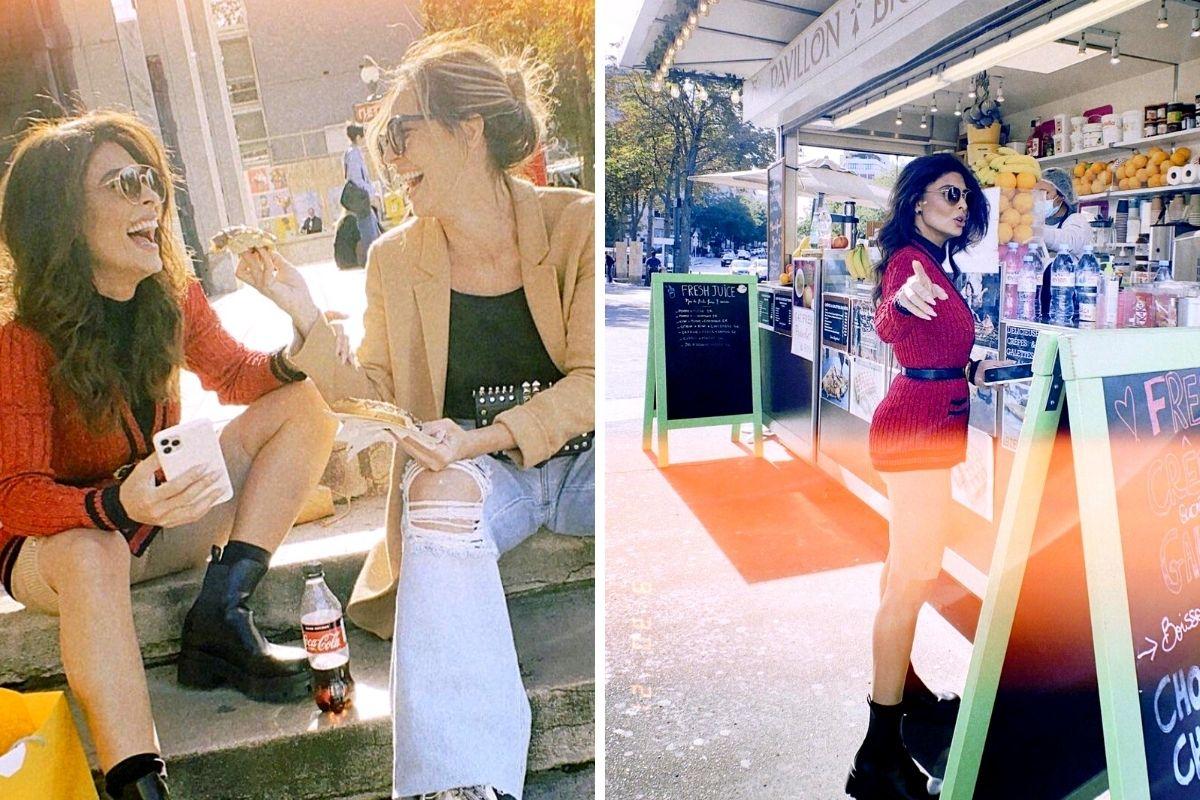 Juliana Paes flagrada comendo na rua em Paris